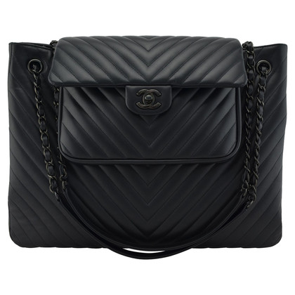 Chanel Quindi Black Chevron Tote Bag