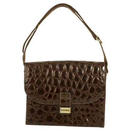 Ferre Croco Brown Flap top Shoulder bag