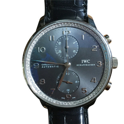 Iwc White gold watch with crocodile bracelet