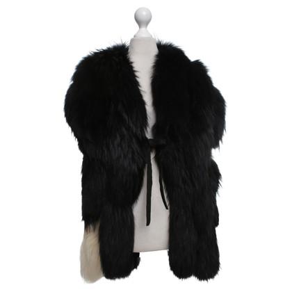 Maison Martin Margiela Fur vest in black / white