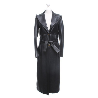 Gianni Versace Leather coat in black