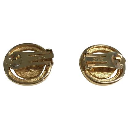 Christian Dior Vergulde clip oorbellen met blauwe stenen