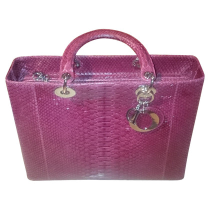 Christian Dior Lady Dior Python Rosa