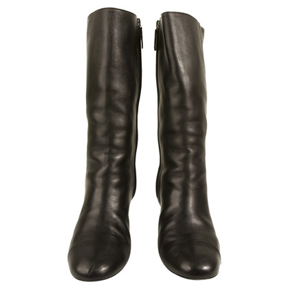 Chanel Black Leather mid height round toe boots