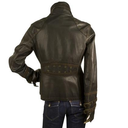 Just Cavalli Donkerbruin Designer Biker Jacket