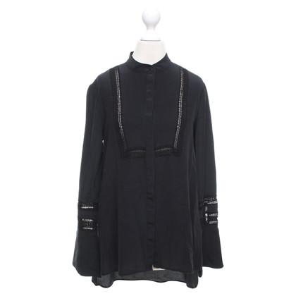 Rachel Zoe Long silk blouse in black