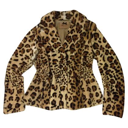 Blumarine Giacca pelliccia lapin leopardato