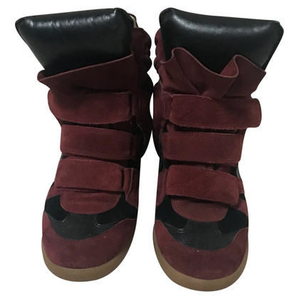 Isabel Marant Bekett black leather suede wine red