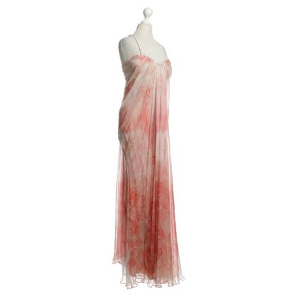 Alexander McQueen Lange zijden chiffon jurk met print
