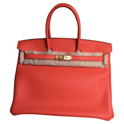 """Hermès """"Birkin Bag 35 Clémence Leather Orange Poppy"""""""