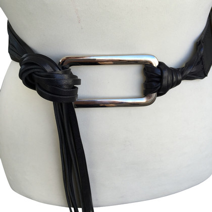 Max Mara Leather belt with fringes