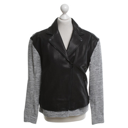 Tibi Veste en cuir noir / gris