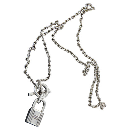 Hermès collana lucchetto kelly in argento