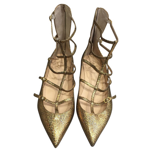 6399373fb2e Christian Louboutin Slippers Ballerinas Leather in Gold - Second ...
