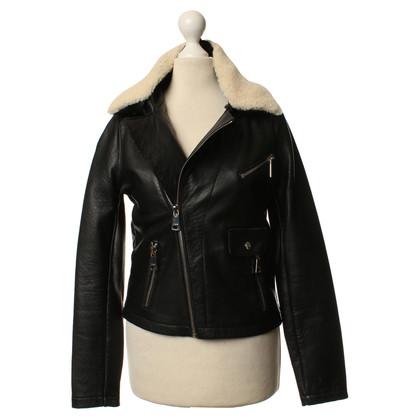Maje Leren jas in zwart