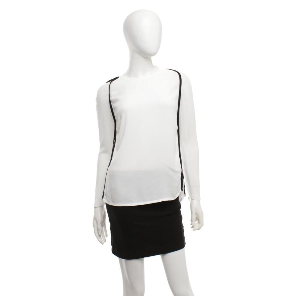 Maje Blouse chemise en noir et blanc