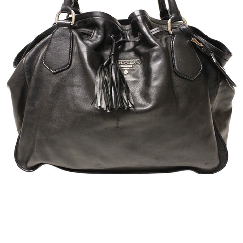 premium selection c8af7 9ea1a Prada Shopper in Pelle in Nero - Second hand Prada Shopper ...