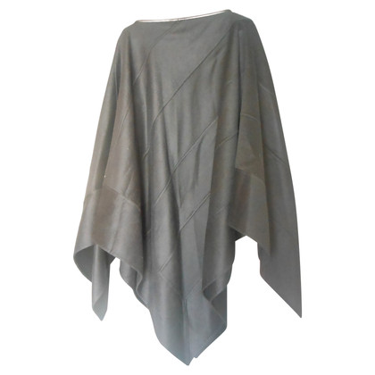 Agnona Cashmere cape with leather trim