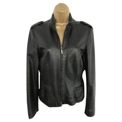 Cerruti 1881 Black Leather Jacket