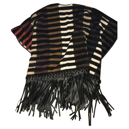 Fendi Wool cape with leather fringes