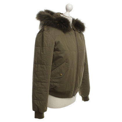 Yves Salomon Olive-colored jacket with fur