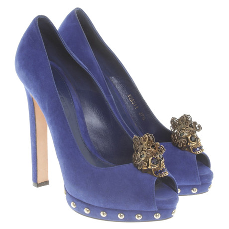 Alexander McQueen Peeptoes in Royalblau Blau