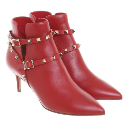 "Valentino ""Rockstud"" boots in red"