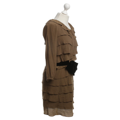 Sandro Ruffle Dress in Khaki
