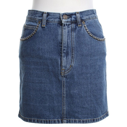 Saint Laurent Jeans skirt with rivet trim