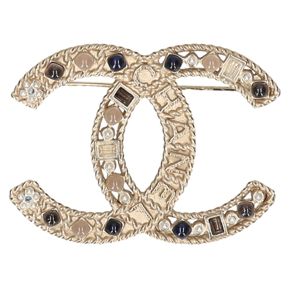 brooch brass gold cc en chanel logo brushed