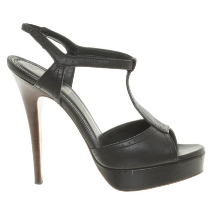 Yves Saint Laurent Sandalen in zwart leer
