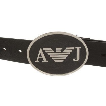 Armani Jeans Leather belt in black