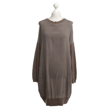 Brunello Cucinelli Silk dress with cashmere inserts