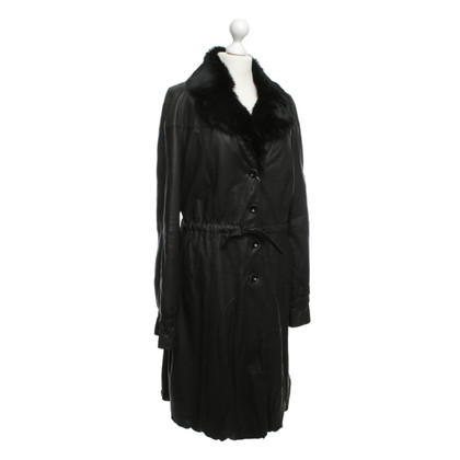 Armani Collezioni Leather coat in black
