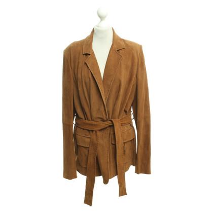 Marina Rinaldi Cognac-colored suede blazer