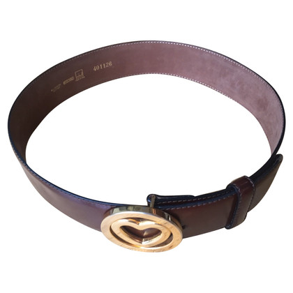 Moschino Leather Belt with Heart Buckle