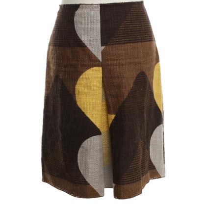 Prada skirt in brown-yellow