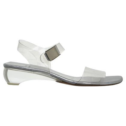 Stuart Weitzman Silberfarbene Sandaletten