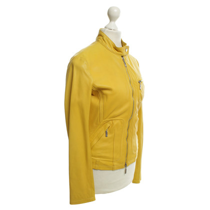 Moncler Leather jacket in yellow