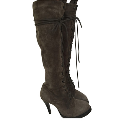 Ann Demeulemeester Suede boots in grey/green