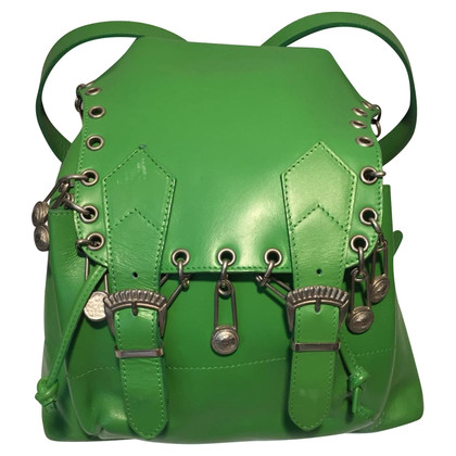 Gianni Versace Green leather backpack