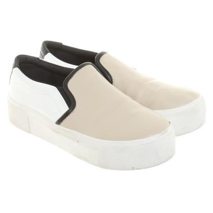 DKNY Bess platform sneaker nappa parchment white