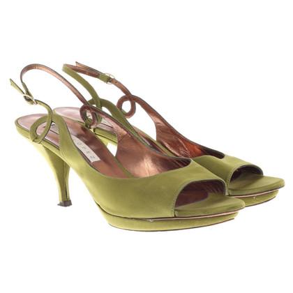 Pura Lopez Peep-toe in raso in verde