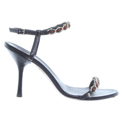 Gucci High Sandals black leather