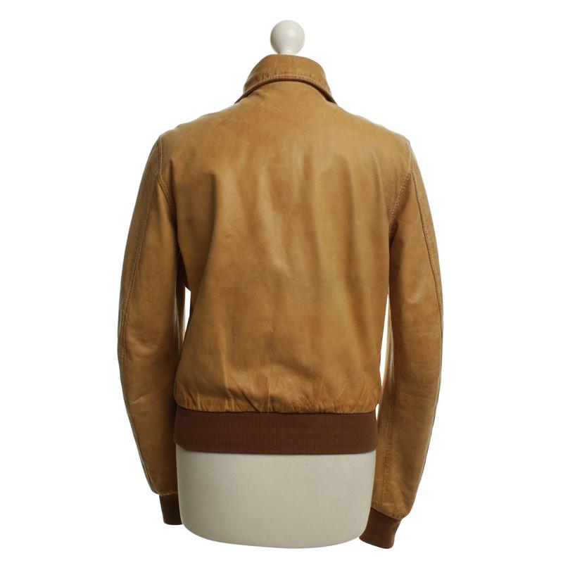 Veste cuir femme couleur camel