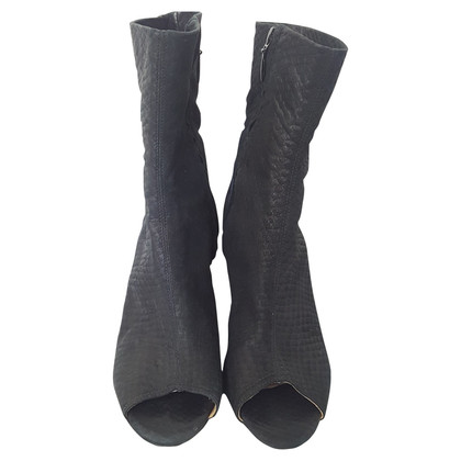 Acne Stivale in pelle nera con peep toe