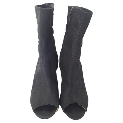 Acne Black peep toe leather boot