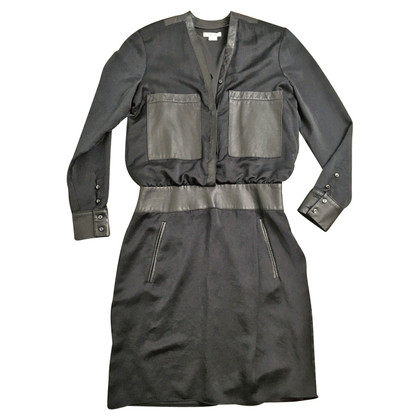 Helmut Lang Long sleeve dress with leather details