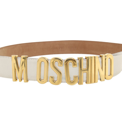 Moschino Leather riem in crème