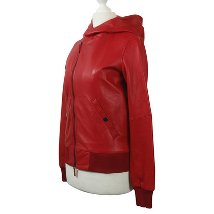 Y-3 Leather jacket in red